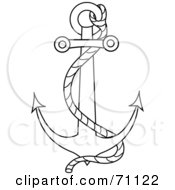 Royalty Free RF Clipart Illustration Of A Black Outline Of A Nautical Anchor With A Rope