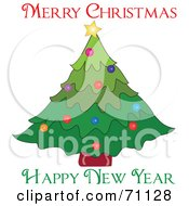Royalty Free RF Clipart Illustration Of A Merry Christmas Happy New Year Greeting With A Christmas Tree by Pams Clipart