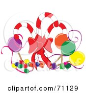 Royalty Free RF Clipart Illustration Of An Arrangement Of Suckers Gum Drops And Jelly Beans With Christmas Candy Canes by Pams Clipart