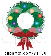 Royalty Free RF Clipart Illustration Of A Green Christmas Wreath With A Red Bow And Baubles by Pams Clipart