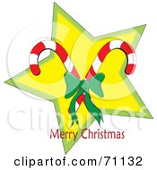 Royalty Free RF Clipart Illustration Of A Merry Christmas Greeting Of Candy Canes Over A Star by Pams Clipart
