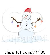 Royalty Free RF Clipart Illustration Of A Happy Snowman With Christmas Ornaments Hanging From His Twig Arms by Pams Clipart