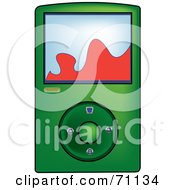 Royalty Free RF Clipart Illustration Of A Green Digital Mp3 Music Player by Pams Clipart
