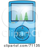 Royalty Free RF Clipart Illustration Of A Blue Digital Mp3 Music Player by Pams Clipart