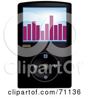 Royalty Free RF Clipart Illustration Of A Black Digital Mp3 Music Player by Pams Clipart
