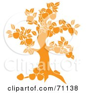 Royalty Free RF Clipart Illustration Of A Yellow Apple Tree Silhouette by Pams Clipart