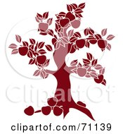 Royalty Free RF Clipart Illustration Of A Red Apple Tree Silhouette by Pams Clipart
