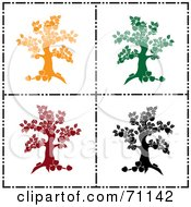 Royalty Free RF Clipart Illustration Of A Digital Collage Of Yellow Green Red And Black Apple Tree Silhouettes by Pams Clipart