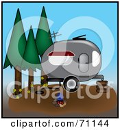 Royalty Free RF Clipart Illustration Of A Kettle Over A Fire By A Camper In The Woods by Pams Clipart #COLLC71144-0007