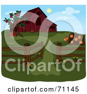 Royalty Free RF Clipart Illustration Of An Apple Tree And Pumpkin Patch By A Red Barn During The Day