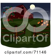 Royalty Free RF Clipart Illustration Of An Apple Tree And Pumpkin Patch By A Red Barn During The Night by Pams Clipart