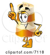 Clipart Picture Of A Barrel Mascot Cartoon Character Pointing Upwards by Toons4Biz