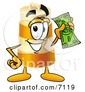 Clipart Picture Of A Barrel Mascot Cartoon Character Holding A Dollar Bill by Toons4Biz