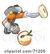 Royalty Free RF Clipart Illustration Of An Orange Man Pirate With A Hook Hand Holding A Sliced Apple On A Sword by Leo Blanchette