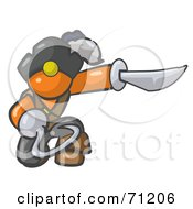 Royalty Free RF Clipart Illustration Of A Kneeling Orange Man Pirate With A Hook Hand And A Sword by Leo Blanchette