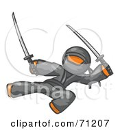 Royalty Free RF Clipart Illustration Of An Orange Man Ninja Kicking And Jumping With Swords by Leo Blanchette