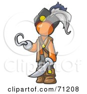 Royalty Free RF Clipart Illustration Of An Orange Man Pirate With A Hook Hand And A Sword by Leo Blanchette