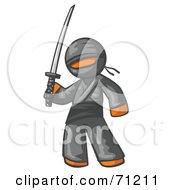 Orange Man Ninja Holding A Sword