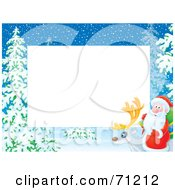 Royalty Free RF Clipart Illustration Of A Horizontal Background With Snow Trees And Santa On A Reindeer Around White Space