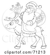 Royalty Free RF Clipart Illustration Of A Black And White Outline Of Santa Carrying A Sack And Riding On The Back Of A Reindeer