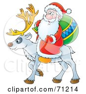 Royalty Free RF Clipart Illustration Of Santa Carrying A Sack And Riding On The Back Of A Reindeer