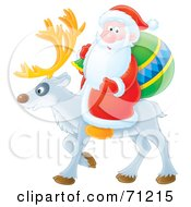 Royalty Free RF Clipart Illustration Of Santa Carrying An Airbrushed Sack And Riding On The Back Of A Reindeer