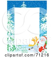 Royalty Free RF Clipart Illustration Of A Vertical Background With Snow Trees And Santa On A Reindeer Around White Space