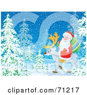 Royalty Free RF Clipart Illustration Of Santa Riding On A Reindeer Through A Snowy Forest