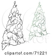 Royalty Free RF Clipart Illustration Of An Evergreen Tree Flocked In Snow With A Black And White Copy Version 5