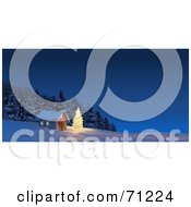 Royalty Free RF Clipart Illustration Of An Illuminated Christmas Tree In The Yard Of A Cabin At The Edge Of The Woods