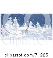 Royalty Free RF Clipart Illustration Of A Church Building Surrounded By Snow Flocked Trees On A Wintry Night