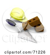 Royalty Free RF Clipart Illustration Of A 3d Yellow Hardhat Trowel And Bricks