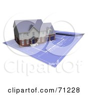 Royalty Free RF Clipart Illustration Of A 3d Modern And Custom Home On Rolled Out Blueprints by KJ Pargeter