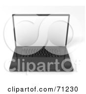 Royalty Free RF Clipart Illustration Of A Sleek 3d Black Laptop With A Blank White Screen