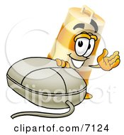Clipart Picture Of A Barrel Mascot Cartoon Character With A Computer Mouse by Toons4Biz