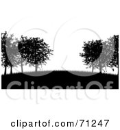 Royalty Free RF Clipart Illustration Of A Black And White Silhouetted Trees On A Hill Over White