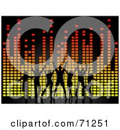 Royalty Free RF Clipart Illustration Of Black Dancers Over Colorful Equalizer Lines