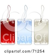 Royalty Free RF Clipart Illustration Of A Digital Collage Of Red Blue And Beige Snowflake Christmas Labels