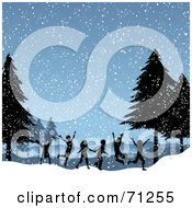 Royalty Free RF Clipart Illustration Of A Group Of Silhouetted Children Running And Playing On A Snowy Day by KJ Pargeter