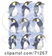 Royalty Free RF Clipart Illustration Of Rows Of Waddling Penguins Over Purple