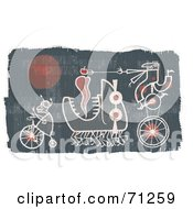 Royalty Free RF Clipart Illustration Of A Parade Of People On Bikes In Front Of And Behind A Monster