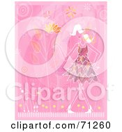 Royalty Free RF Clipart Illustration Of A Fashionable Lady Walking Her Miniature Poodle Over Pink