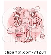 Royalty Free RF Clipart Illustration Of Ladies Drinking At A Table by Steve Klinkel
