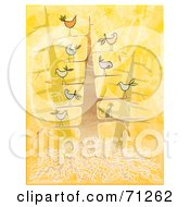 Royalty Free RF Clipart Illustration Of A Tree With A Cat And Chatty Birds On The Branches