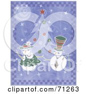 Royalty Free RF Clipart Illustration Of A Purple Background With Dancing Snowmen By A Christmas Tree by Steve Klinkel