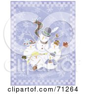 Royalty Free RF Clipart Illustration Of A Snowman Family Waving Over A Purple Background With Snowflakes by Steve Klinkel