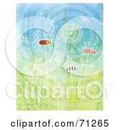 Royalty Free RF Clipart Illustration Of A Background Of Abstract Flowers Bugs And The Sun by Steve Klinkel