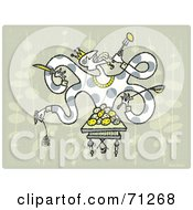 Royalty Free RF Clipart Illustration Of A Food Critic With Four Arms Sampling A Meal