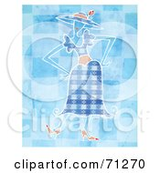 Royalty Free RF Clipart Illustration Of A Woman In A Stylish Blue Dress Standing With Her Hands On Her Hips by Steve Klinkel
