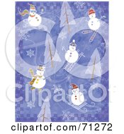 Purple Checkered Background With Trees Snowflakes And Snowmen